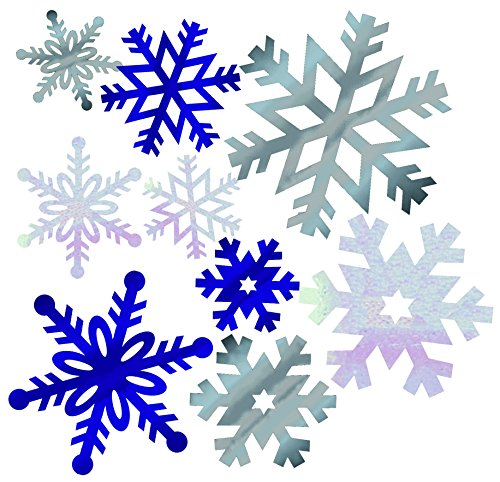 Creative Converting Wall Decor Cutouts, Foil Snowflakes, Silver/Blue