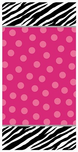 "Amscan Pink Polka Dots Zebra Print Personalized Door Decoration, Black/White, 65"" x 33 1/2"""