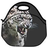 Snoogg Leopard Fury Travel Outdoor Carry Lunch Bag Picnic Tote Box Container Zip Out Removable Carry Lunchbox Handle Tote Lunch Bag Food Bag For School Work Office