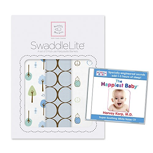 SwaddleDesigns SwaddleLite 3pack with The Happiest Baby White Noise CD Bundle, Cute & Calm Lite, Pastel Blue - 1