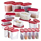 Primeway Modular Kitchen Food Storage Plastic Containers, 275ml, 500ml 750ml, 1 Litre, Set of 20 Pcs, Red