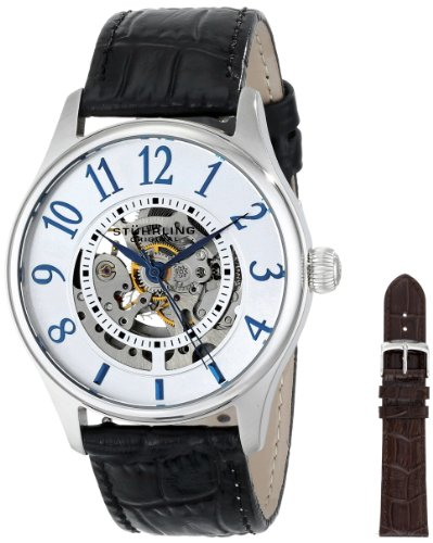 Stuhrling Original Men's 746L.SET.01 Delphi Solaris Automatic Skeleton Silver Watch with Additional Strap