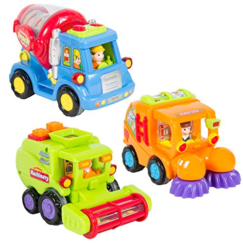 Best Choice Products Set of 3 Friction Powered Car Toys, Harvester Truck, Street Sweeper, Cement Mixer (Street Sweeper Truck compare prices)
