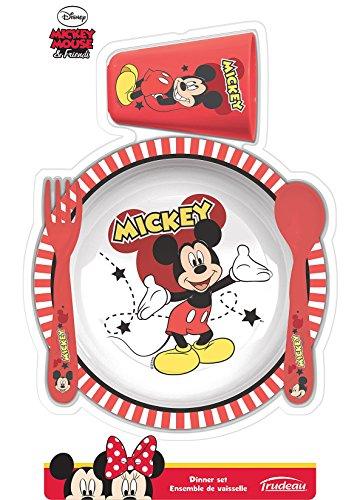 Trudeau 5061124 Mickey Ensemble de 4 Vaisselles pour Enfant Mélamine/Plastique Rouge