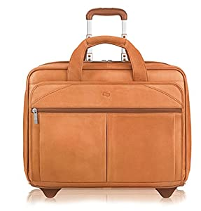 Solo Classic Collection Leather CheckFast Rolling Case for Laptops