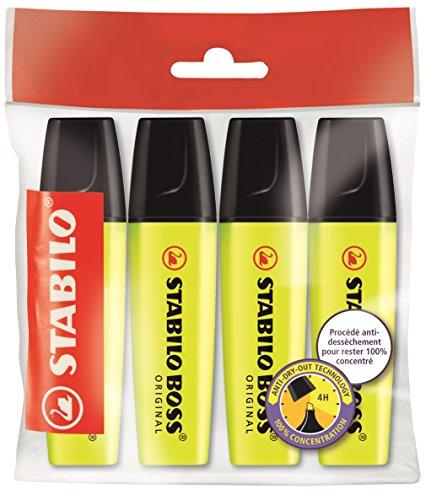 stabilo-boss-original-lot-de-4-surligneurs-jaune