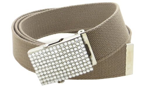 "Canvas Web Belt Military Style 1.5"" Wide Rhinestone Buckle 52"" Long (Khaki)"