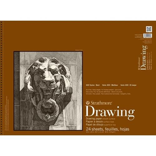 Strathmore (400-108) 400 Series Drawing, Smooth Surface, 18 by 24, 24 Sheets (Color: White, Tamaño: 18 by 24)
