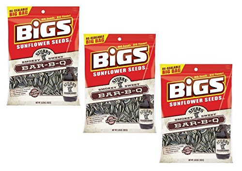 Bigs Sunflower Seeds Stubbs Smokey Sweet BBQ Big Bag, 5.35 Oz Bag (3 Count) (David Bbq Sunflower Seeds compare prices)