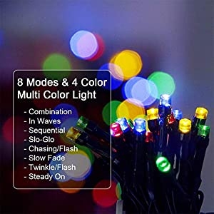WOWLUX LED Solar String Lights Outdoor 200 LEDs 72Ft, Solar Powered Christmas Lights Waterproof Decorative Fairy String Lights, Wedding, Holiday Decoration, 8-in-1 Mode (Multi-Color)