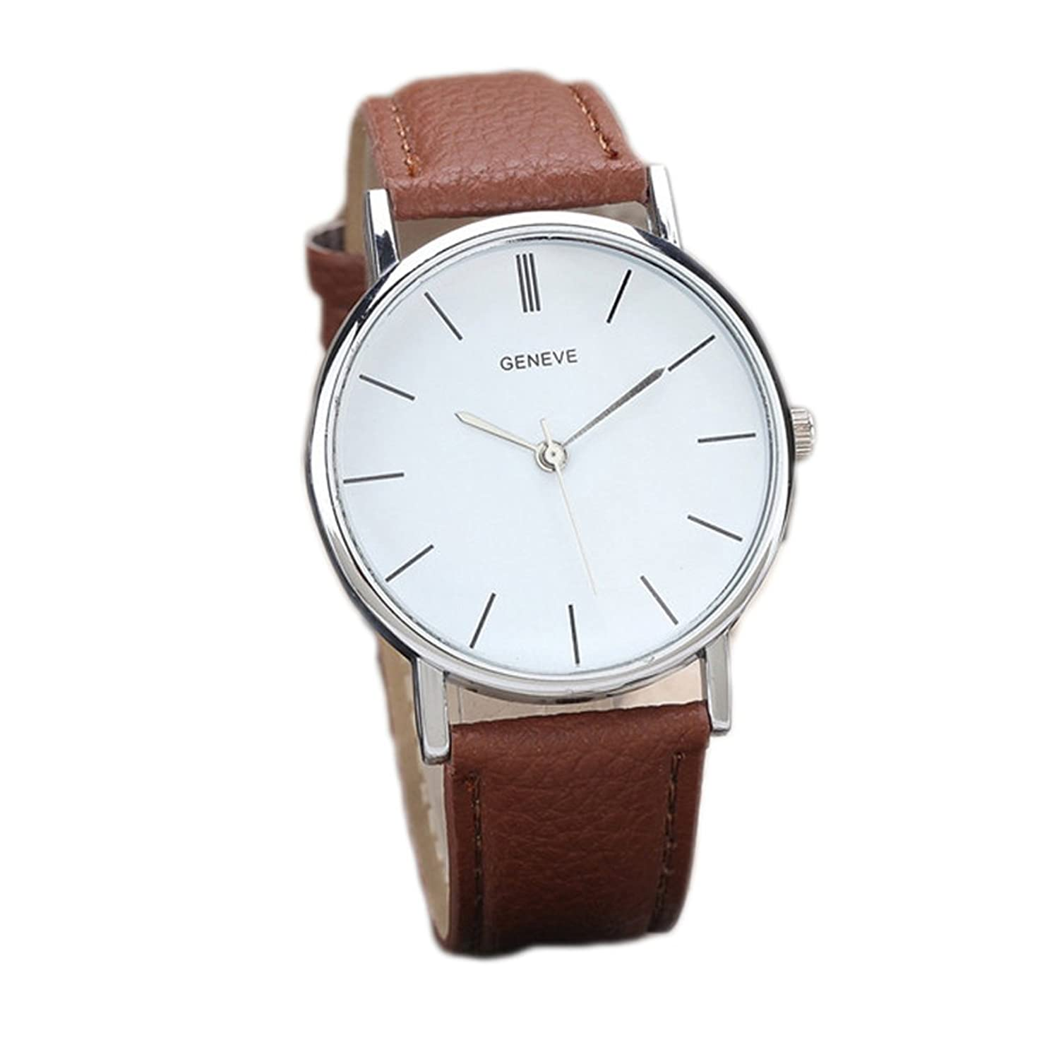 Wangyue Vintage Design Leather Band Analog Alloy Quartz Wrist Watch Brown