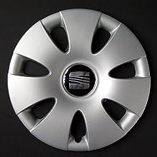 Wheeltrims - Conjunto de 4 tapacubos para Seat Ibiza 2002> / Cordoba / Leon / Alhambra / Altea / Toledo, con llantas originales de 14
