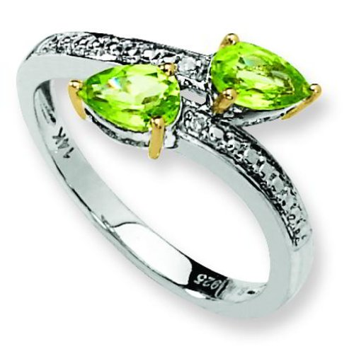 Ster Silver 14K Gold IJ| Diamond & Peridot Fashion Ring