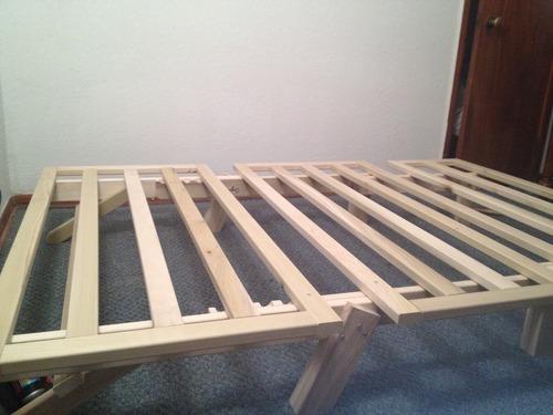 Buy discount tri fold hardwood futon frame full size for Tri fold futon mattress full size