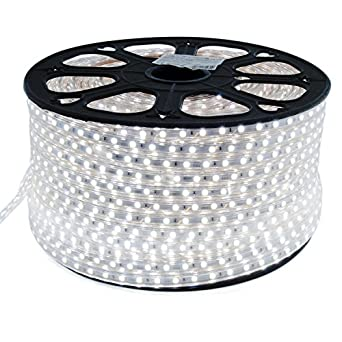 extra long 100 meter led strip cool white 230v with 60x 5050 smd per meter white background. Black Bedroom Furniture Sets. Home Design Ideas