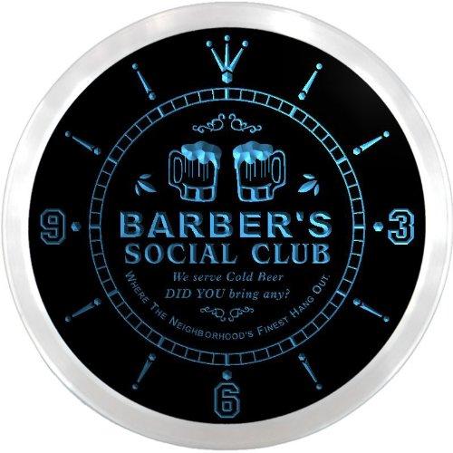 Ncpz1335-B Barber'S Social Club Bar Beer Pub Led Neon Sign Wall Clock