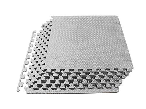 ProSource Puzzle Exercise Mat, EVA Foam Interlocking Tiles, 24 Square Feet, Grey (Includes 6 tiles)