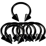 Lots of 10pcs Black Color Anodized Surgical Steel Horseshoe with Spike Body Piercing Jewelry
