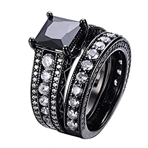 JunXin Womens Black and White Diamond Wedding Rings Set Black Gold Plated Princess Round Cut Size6/7/8/9/10(8)