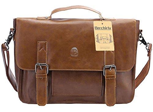 Vintage Leather Briefcase, Berchirly PU Leather Shoulder Messenger Bag Laptop