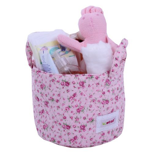 Minene Small Storage Basket with Flowers (Pink)