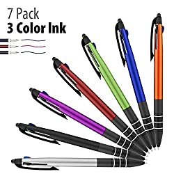 "Ballpoint Pen, 7 Pack Ace Teahâ""¢ 3 color (Black, Blue, Red) ink click Ballpoint Pen & Stylus Pen for Touch Screens Device, iPad, Tablets, Phone (Orange/Green/Silver/Blue/Red/Violet)"