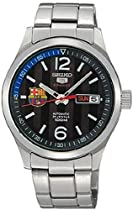 Seiko 5 F.C. Barcelona Automatic Black Dial Stainless Steel Mens Watch SRP301