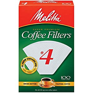 Melitta Cone Coffee Filters, White, No. 4, 100-Count Filters (Pack of 6) by Melitta