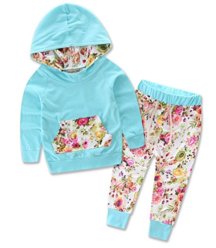 Baby Girls Floral Hoodie+ Floral Pant Set Leggings 2 Piece Outfits (12-18Months, Blue)