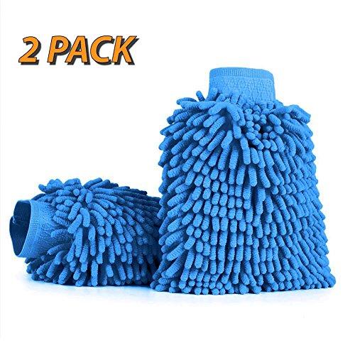 adogo-2-pack-microfiber-glove-chenille-car-wash-mittblue