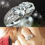 【高品質AAA】 大粒3ct ハートK18GP リング ダイヤモンドCZ キュービックジルコニア 指輪 プレゼント