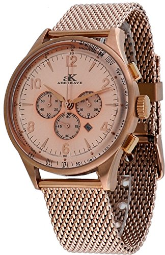 Adee Kaye #AK9040-MRG Men's Retro Collection Rose Gold Tone Stainless Steel Mesh Band Silver Dial Chronograph Watch
