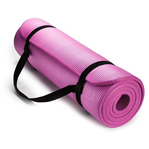 hemingweigh-1-2-inch-extra-thick-high-density-exercise-yoga-mat-with-carrying-strap-pink
