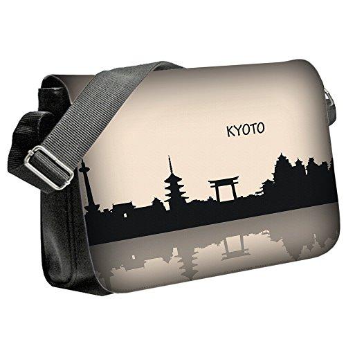 Voyage Kyoto, Unisex Nero Sublimazione Borsa a tracolla Reporter Bag con Spallacci regolabili e Motivo Colorato.Dimensione:Medio-23x33x6cm