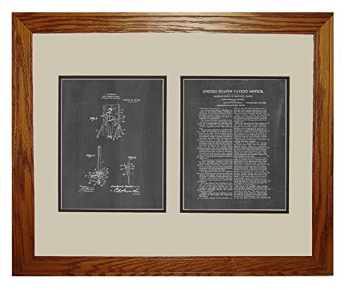"Moulin Knife-Throwing Illusion Patent Art Chalkboard Print In A Honey Red Oak Wood Frame (16"" X 20"")"