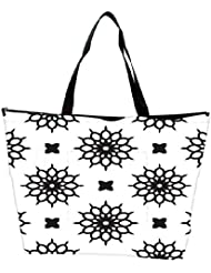 Snoogg Abstract Floral White Pattern Designer Waterproof Bag Made Of High Strength Nylon
