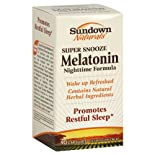 Sundown Naturals Melatonin Nighttime Formula, Super Snooze, Capsules, 90 ct.