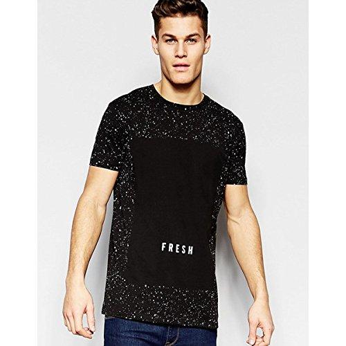 (エイソス) ASOS メンズ トップス Tシャツ ASOS Longline T-Shirt With Splatter And Fresh Print In Black 並行輸入品
