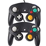 Donop 2 Pack Black Classic Wired Shock Joypad Game Stick Pad Controller for Nintendo Wii Gamecube NGC Gc Black