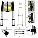 Sotech - New 3.8M Aluminium Telescopic Ladder - EN 131 Certificate - Extension Ladder Foldable& Extendable 13 Steps