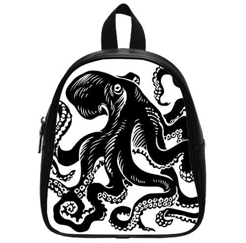 Black White Tattoo octopus Backpack Kid's School Bag Small