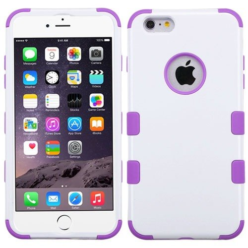 Apple Iphone 6 Plus White Electric Purple Hybrid Rib Cover Snap On Hard Case Cell Phone Shield Protector Shell From [Accessory Library]