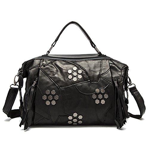 yilen-womens-genuine-leather-fringe-zipper-handbag-leisure-crossbody-bag-shoulder-bag-black