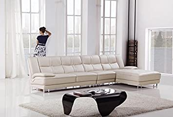 3pc Modern Contemporary Sectional Leather Sofa Set - AM-L702-LG
