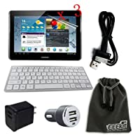 EEEKit for Samsung Galaxy Tab 2 II GT-P5113 P5100 P5110 Accessory Bundle, Wireless Keyboard for Android Tablet + 3-Pack Anti-Glare Screen Protector + 2 Port AC Wall Charger + USB 2 Port Car Charger + Samsung USB Power Charger Cable + EEEKit Protective Storage Pouch