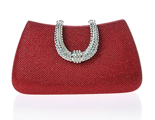 Minitoo Mm131 Womens Fashion Collection Handmade Vintage Red Satin Sparkle Glitter Clutch Handbags Evening Party Bags