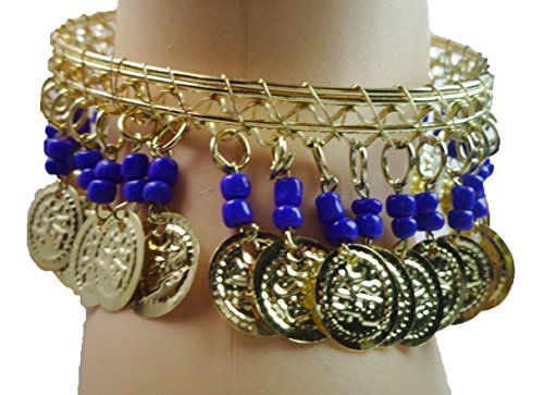 Belly Dance Dancing Costume Anklet Egyptian Gypsy Tribal Ethnic Coins & Beads