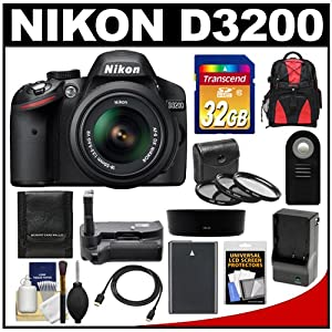 Nikon D3200 Digital SLR Camera & 18-55mm G VR DX AF-S Zoom Lens (Black) with 32GB Card + Backpack + Battery & Charger + Grip + HDMI Cable + 3 Filters Kit