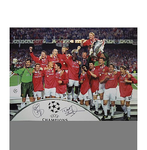 Ole Gunnar Solskjaer & Teddy Sheringham Autographed Manchester United 16x12 Photo: 1999 UEFA Champions League Winners - ICONS Authentic Signed Autograph
