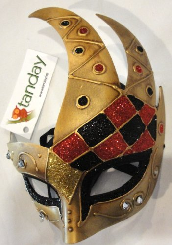 Tanday Gold Mardi Gras Harlequin Party Mask #(7016).